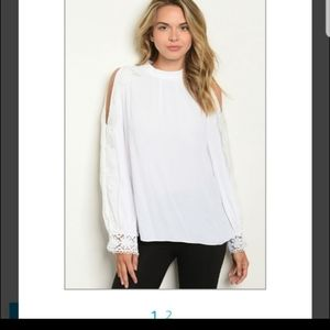 NWT White cold shoulder lace blouse